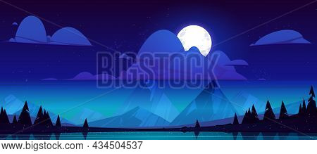 Night Landscape With Lake, Mountains And Trees Silhouettes On Coast. Vector Cartoon Illustration Of