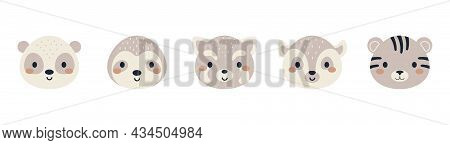 Set Of Cute Animal Heads In Scandinavian Style. Collection Funny Animals Characters For Kids Cards,