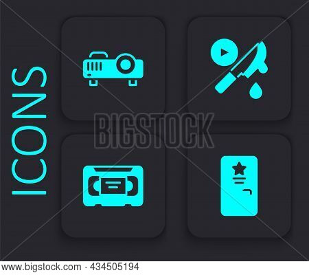 Set Backstage, Movie, Film, Media Projector, Thriller Movie And Vhs Video Cassette Tape Icon. Black