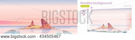 Parallax Background Sunrise In Ocean, Pink Sky With Crescent Moon At Sea Shallow With Rocks In Water