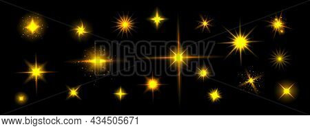 Golden Star Shine Effects, Flash Lights With Sparkles And Glow Rays Isolated On Black Background. Ve