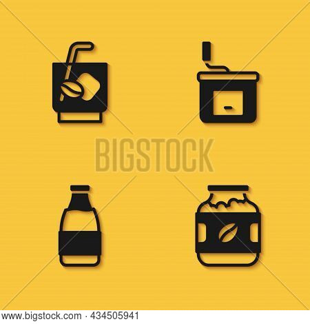 Set Espresso Tonic Coffee, Coffee Jar Bottle, Milk And Manual Grinder Icon With Long Shadow. Vector