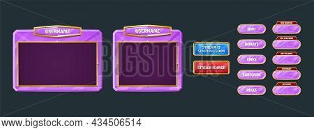 Game Streaming Overlay Panels And Buttons. Template Of Webcam Video App Design. Vector Cartoon Set O