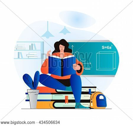Education Concept In Modern Flat Design. Woman Is Reading Book. Pupil Studies From Textbook, Does He