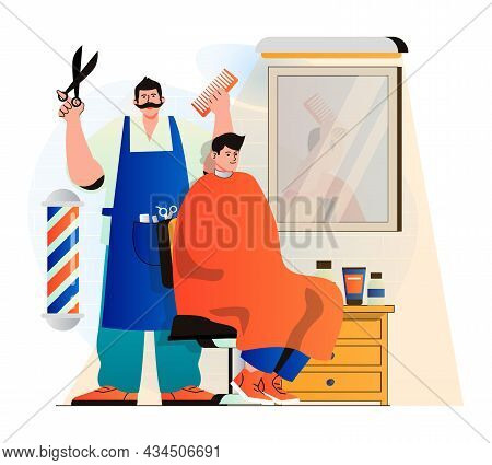 Barbershop Concept In Modern Flat Design. Professional Hairdresser Or Hairstylist Makes Fashionable