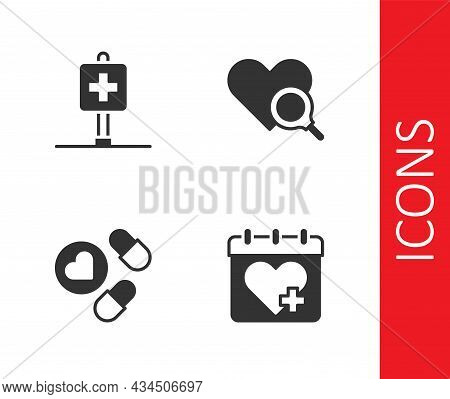 Set Doctor Appointment, Location Hospital, Medicine Pill Tablet And Medical Heart Inspection Icon. V