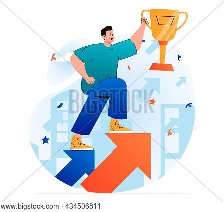 Business Award Concept In Modern Flat Design. Businessman Holding Gold Cup And Moves Up On Arrow. Tr