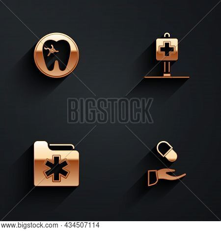 Set Tooth With Caries, Location Hospital, Medical Health Record Folder And Prescription Icon With Lo
