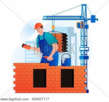 Construction Engineer Concept In Modern Flat Design. Builder Makes Brickwork And Builds Wall Of Hous