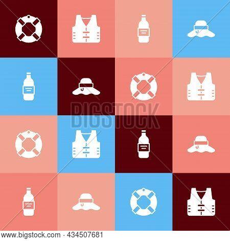Set Pop Art Lifebuoy, Fishing Jacket, Bottle Of Vodka And Fisherman Hat Icon. Vector