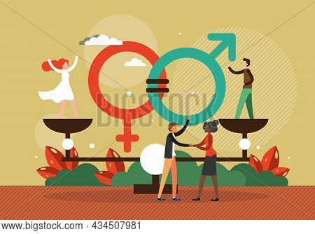 Gender Equality. Woman Man Standing On Balance Scales On The Same Height, Vector Illustration. Equal
