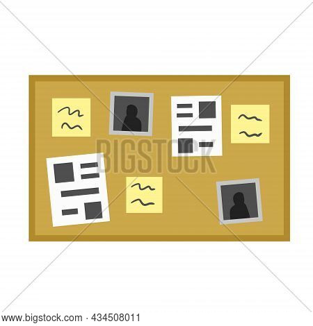 Bulletin Board. Documents, Messages And Photos On Wall. Scenery Of Detective Story. Flat Cartoon Ill