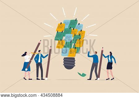 Brainstorming To Gather New Idea, Effective Meeting Discussion, People Invent And Discover Solution,