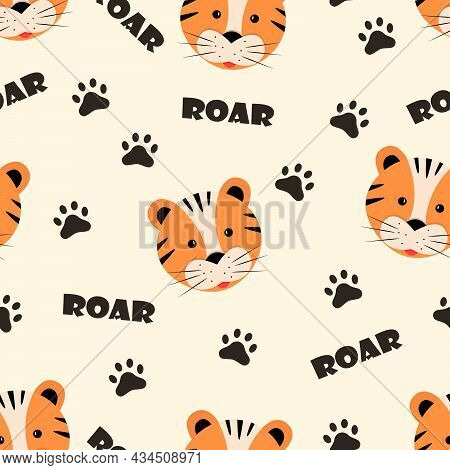 Seamless Pattern Cute Cartoon Tiger Face, Paw Prints And The Inscription Roar, Vector Illustration.
