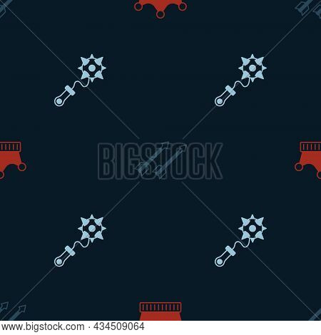 Set King Crown, Medieval Arrows And Mace With Spikes On Seamless Pattern. Vector