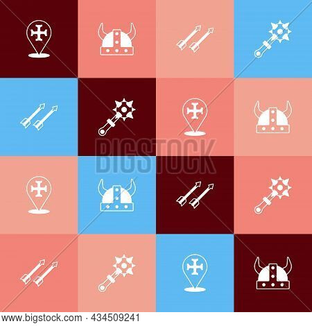 Set Pop Art Crusade, Viking In Horned Helmet, Medieval Arrows And Mace With Spikes Icon. Vector