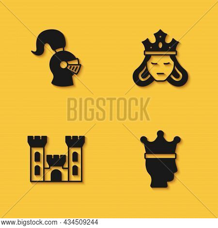 Set Medieval Helmet, King Crown, Castle And Princess Or Queen Icon With Long Shadow. Vector