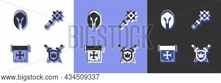 Set Shield With Swords, Medieval Helmet, Crusade And Mace Spikes Icon. Vector