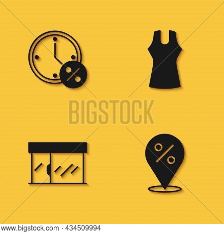 Set Clock And Percent Discount, Location With, Market Store And Woman Dress Icon With Long Shadow. V