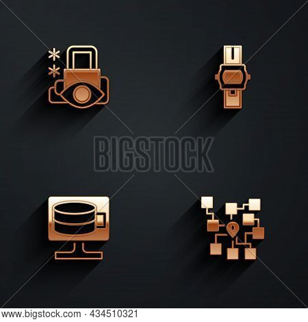 Set Cyber Security, Wrist Watch, Cloud Database And Neural Network Icon With Long Shadow. Vector