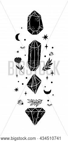 Crystal, Moon, Geometric Occult Graphic Element. Black Mystical Crystals, Flowers, Moon. Celestial G