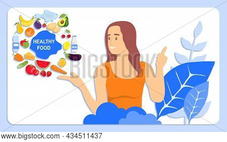 Healthy Food Concept. A Woman On Her Hand Shows Healthy And Wholesome Foods. Vegetarianism, Diet, He