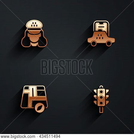 Set Taxi Driver, Mobile App, Location Taxi Car And Traffic Light Icon With Long Shadow. Vector