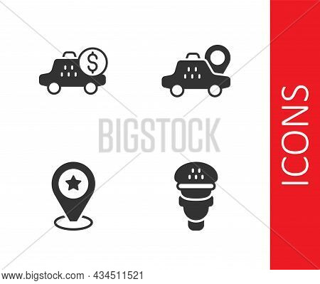 Set Taxi Driver, Taximeter Device, Location With Star And Taxi Car Icon. Vector