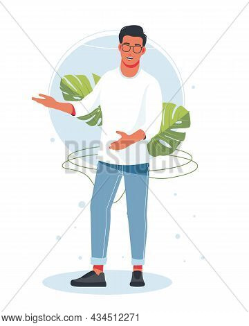 Happy Man Presenting And Points To Something. Character For Advertisement. Guy Shows A Direction Wit