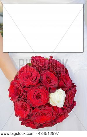 Mock-up With Rose Red White Flower Bouquet In Flat Lay Top View For Wedding Invitation Background Mo