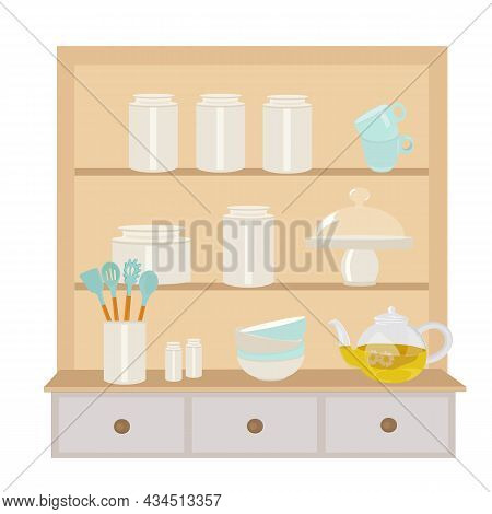 A Cabinet With Dishes With A Vector Illustration Of Dishes. Shelves In The Kitchen. Assortment Of Gl