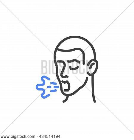 Cough Symptom Line Icon. Linear Style Sign For Mobile Concept And Web Design. Dry Cough Outline Vect