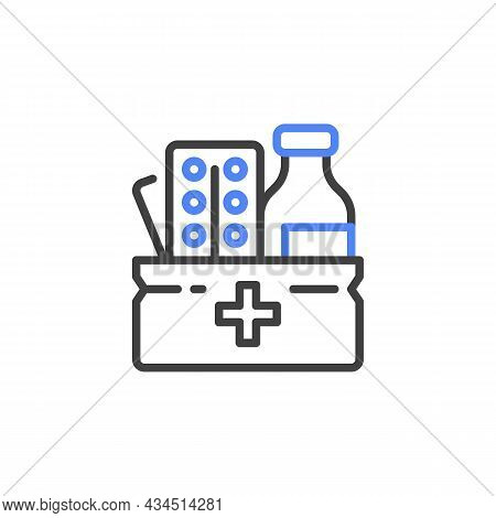 Medicine Box Line Icon. Linear Style Sign For Mobile Concept And Web Design. Medical Box With Pills
