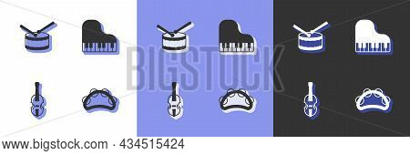 Set Tambourine, Drum With Drum Sticks, Violin And Grand Piano Icon. Vector