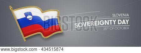 Slovenia Sovereignty Day Vector Banner, Greeting Card.