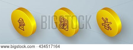 Set Isometric Line Science Fiction, Cd Disk Award In Frame And No Alcohol Icon. Vector