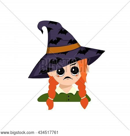 Girl With Angry Emotions, Grumpy Face, Furious Eyes In A Pointed Witch Hat With Bats. Head Of Cute C