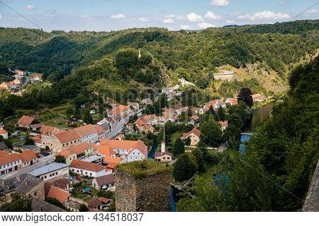 Vranov Nad Dyji, Southern Moravia, Czech Republic, 03 July 2021:  Medieval Town On River Bank, Narro