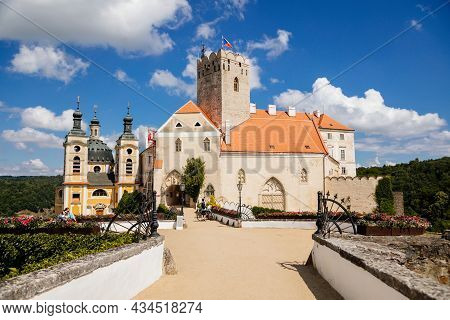 Vranov Nad Dyji, Southern Moravia, Czech Republic, 03 July 2021: Baroque And Gothic Medieval Castle