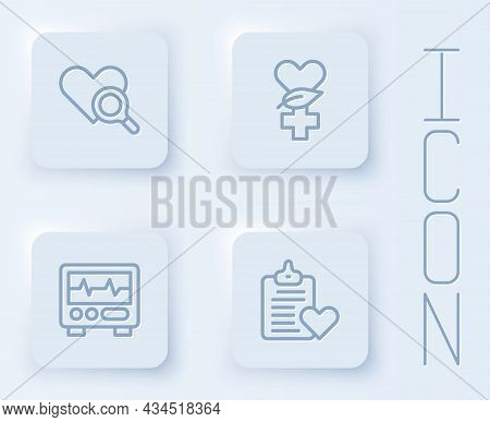 Set Line Medical Heart Inspection, Ethnoscience, Monitor With Cardiogram And Patient Record. White S