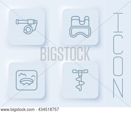 Set Line Fishing Rod, Diving Mask, Winter Fishing And Hand Ice Drill. White Square Button. Vector