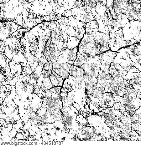 Vector Seamless Pattern. Surface With Cracks And Dirt. Monochrome Texture. Black, Grey Chaotic Eleme