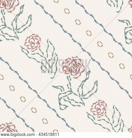 Seamless Floral Pattern. Vector Embroidery Imitation. Light Vintage Background. Canvas Texture Emula