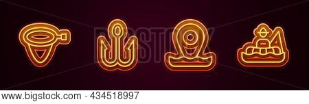 Set Line Fishing Net, Hook, Location Fishing And Fisherman Boat. Glowing Neon Icon. Vector