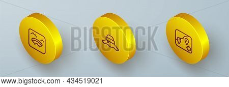 Set Isometric Line Winter Fishing, Fisherman Hat And Location Icon. Vector