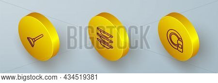Set Isometric Line Rubber Plunger, Washing Dishes And Dishwashing Bottle And Plate Icon. Vector