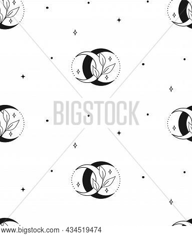 Abstract Background Seamless Pattern Leaf And Moon