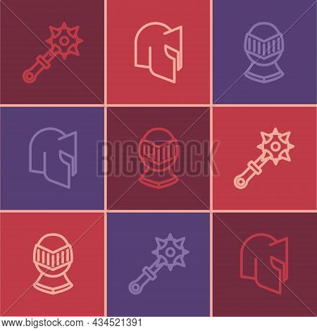 Set Line Mace With Spikes, Medieval Helmet And Icon. Vector