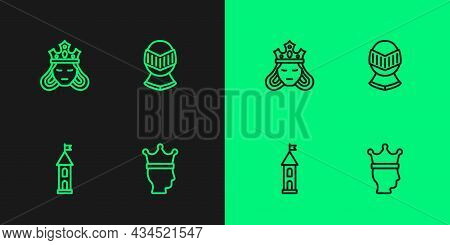 Set Line King Crown, Castle Tower, Princess Or Queen And Medieval Helmet Icon. Vector