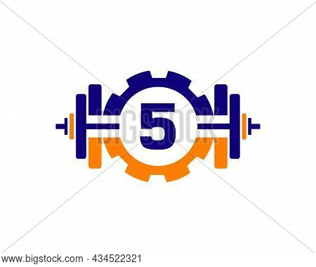 Fitness Gym Logo On Letter 5. Fitness Club Icon With Exercising Equipment. Initial Alphabet Letter 5